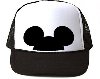 4f3bb14fcba3e4 Mickey Mouse Trucker hat // Black and White // Mickey Hat // Unisex Hat // Minnie  Ears // Disney hat // Mouse hat - ADULT hats