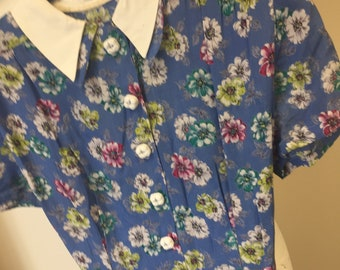 ff3ebc53c7b3 early 1940s blue floral crepe day dress size 10