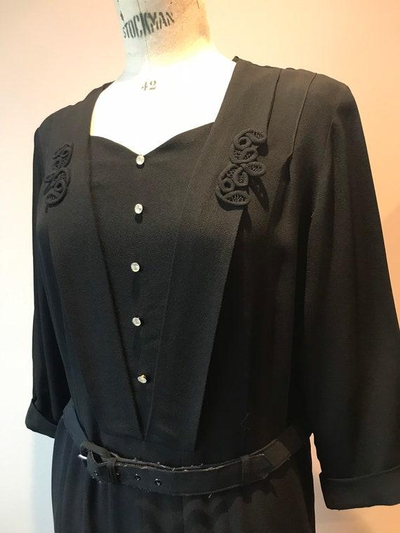 1940s volup black crepe dress size 18
