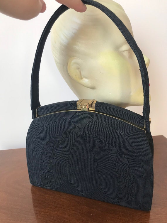 1940s original black Corde handbag