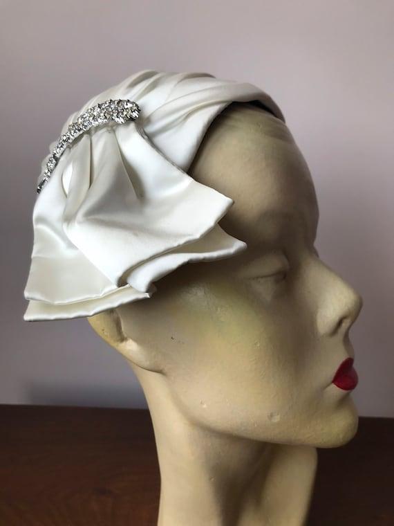 1950s white satin skull cap hat - image 1