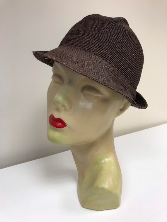 30s brown straw cloche hat size small