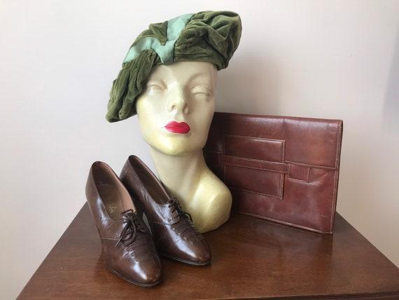 50s does 30s moss green velvet and satin tilt hat