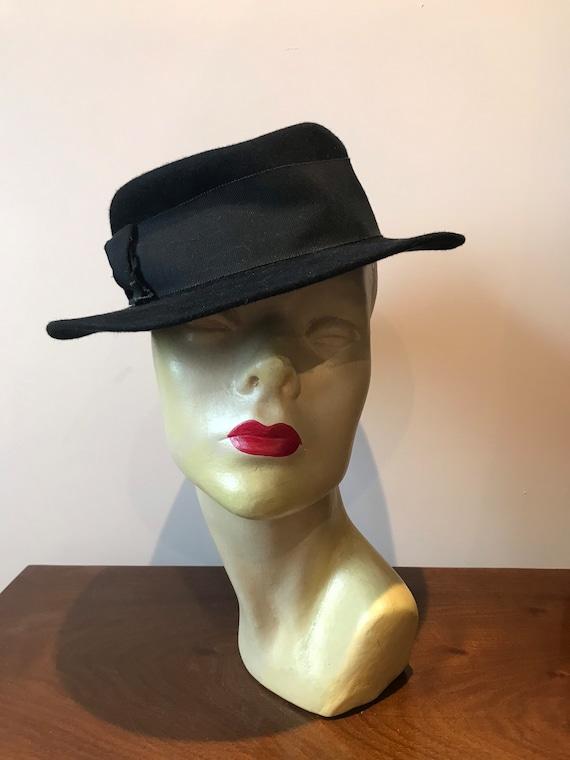 Original 1940s ladies black felt fedora