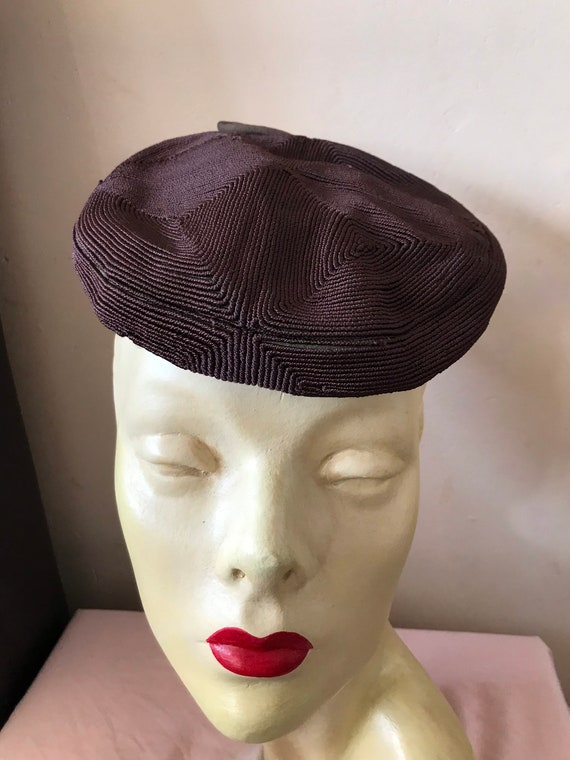 Rare Brown Corde 1940s tilt hat