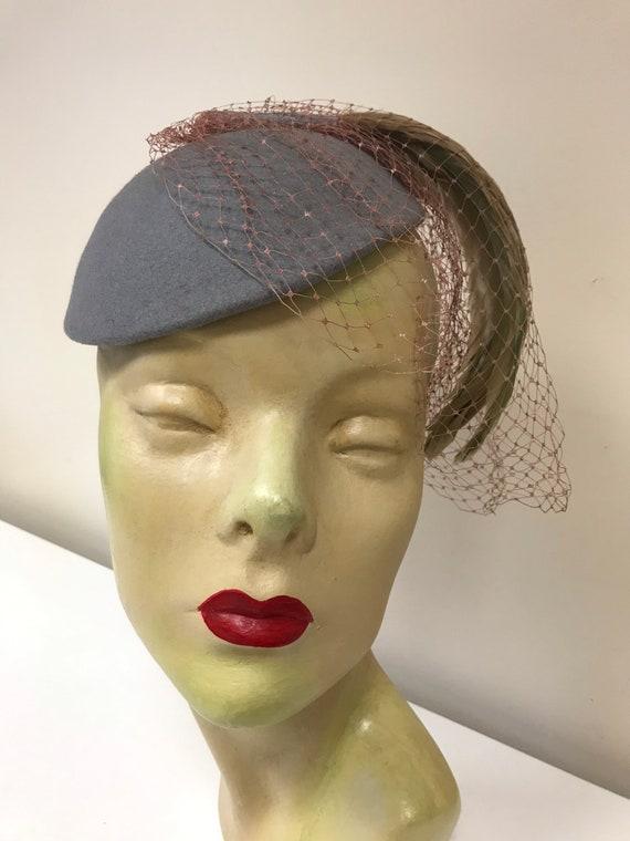 Dove grey 1950s tilt hat