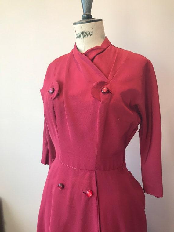 Late 1940s original raspberry dress size 8
