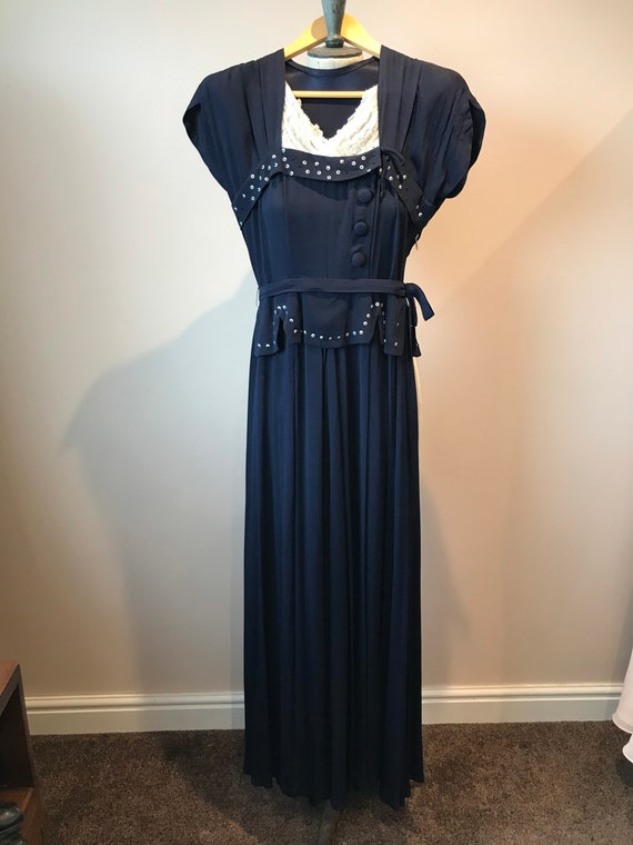 1940s original Navy Crepe Long Evening dress size