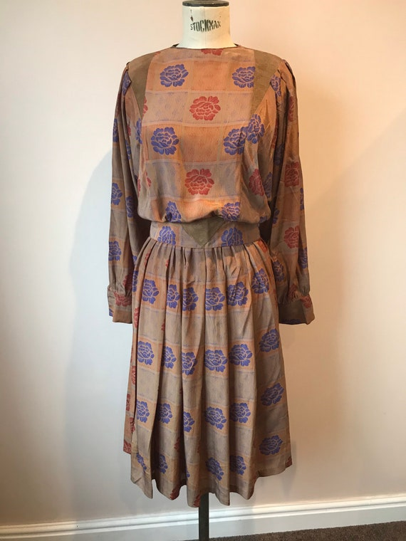 Early 1980s brown floral gold tone dress