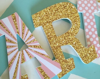 Custom Decorated Wooden Letters - Minnie Mouse - Pink and Gold