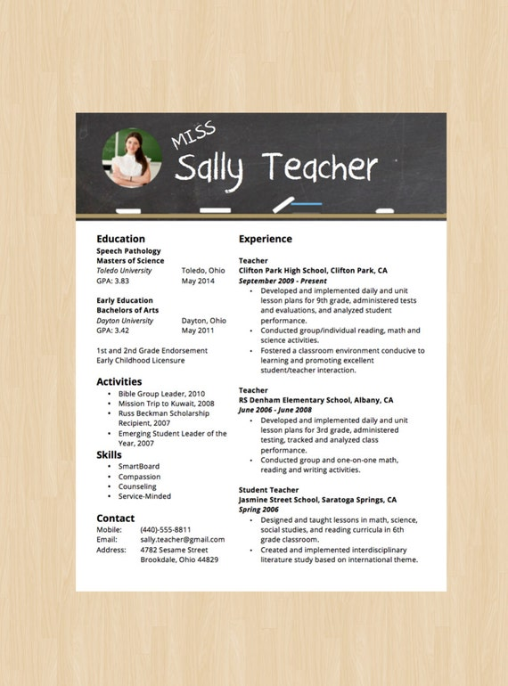 Elementary School Teacher Resume & Cover Letter - Modern Resume Template -  Instant Download - Microsoft Word DocX and Doc Format