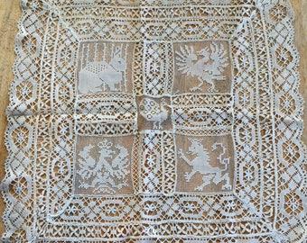 Vintage Crocheted Table Topper Runner White Animals Rare 1930s
