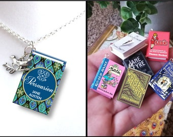 Persuasion with Your Choice of Charm - Micro-Mini Book Necklace
