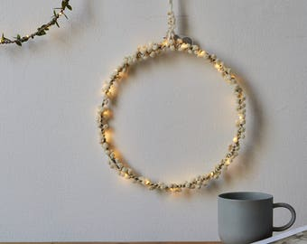 Pom pom fairy light hoop, Scandi style decoration, Fairy light Wreath, light ring, LED hoop, pompom decoration,