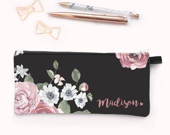 Personalized Pencil Case | Pencil Case | Pouch | Planner Pouch | Planner Accessories | Zipper Pouch | Dark Floral Personalized