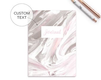 Bullet Journal | Notebook | Personalized | Custom Notebook | Blank | Line | Graph | Bullet | Pink Marble Notebook