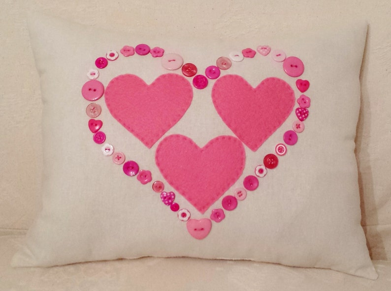 Cream Linen Pink Felt Hearts Cushion Decorative Pillow image 0
