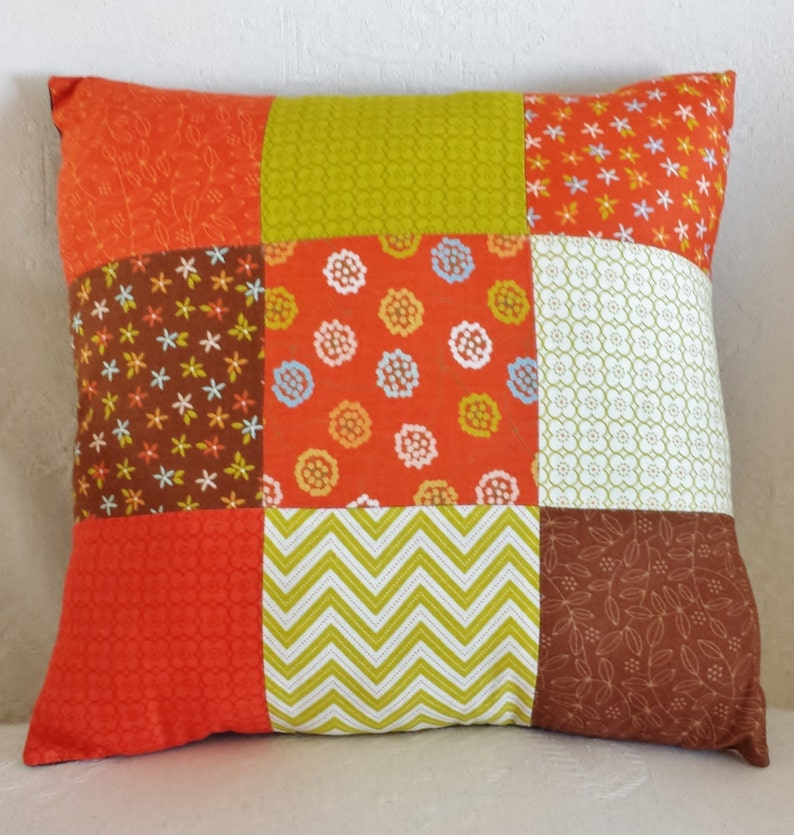 Hand-Stitched Orange Brown and Green Patchwork Cushion image 0
