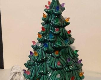 35 Vintage ORANGE /& YELLOW Ceramic Christmas Tree FLOWER Light Bulbs Pegs