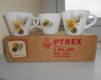 6 Vintage Retro Kitsch Autumn Glory (Dahlia~US) Pattern No. 527 JAJ Pyrex Opal Cups With Original Box Circa 1969-84