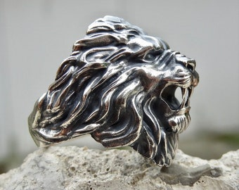 Mens Boy Carved Roaring Lion King Stainless Steel Large Lion Head Ring Size 7-13