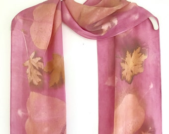 Botanical Print Silk Scarf / Eco Print Natural Dyes / Wall Hanging / Dusty Rose Pink Silk Scarf 16-38