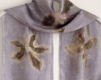 Leaf Print Silk Scarf / Silver Gray Eco Print Scarf / Botanical Nature Print