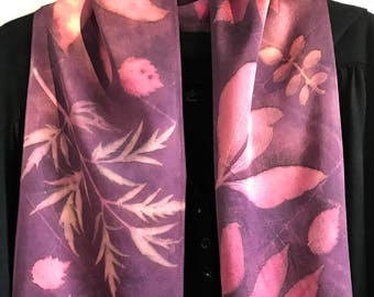Eco Print Silk Scarf / Purple Pink/ Natural Dyes Cochineal / Botanical Print