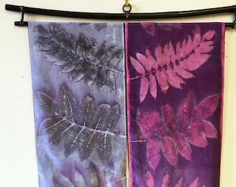 """Silk Wall Hanging """"Light and Shadow"""" / Eco Print Silk Scarves / Cochineal Natural Dye / Botanical Print"""