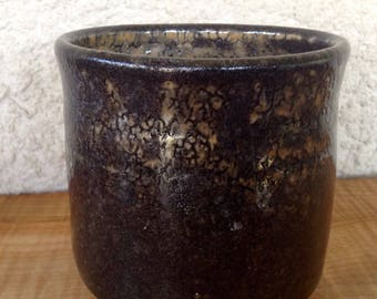 Yunomi with Black Carbon Trap Shino Glaze / Tea Cup, Juice or Wine Glass / Soda Fired Pottery
