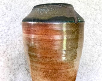 Tall Pottery Vase, Soda-fired, Reddish Brown