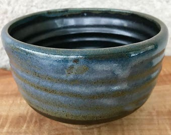 Medium Handmade Pottery Bowl, Blue Celadon and Black Glazes