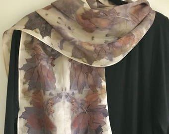 Eco Print Silk Scarf / Natural Dyes / Botanical Print / Maple Eucalyptus Leaves