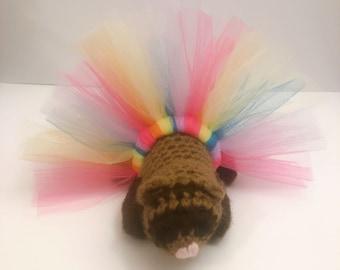 Pastel Rainbow Tutu,Ferret Tutu, Ferret Outfit, Ferret Costume, Crazy Ferret Lady, Ferret Lover Gift, Colorful Pet Tutu, Small Animal Tutu