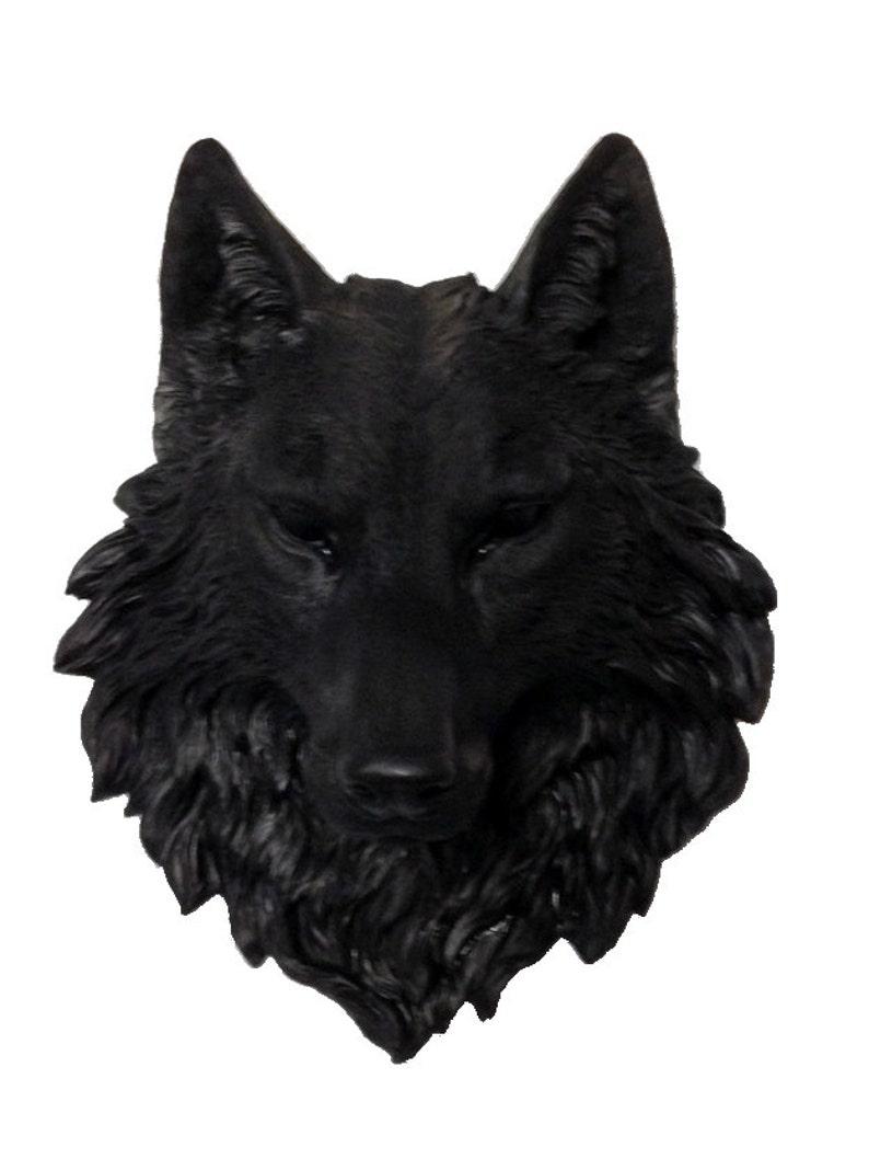 Schwarzer Wolf Kopf Mount Wand Statue Mit Grünen Augen Etsy