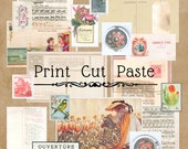 Postcards and Stamps Ephemera for Junk Journals and Decoupage Digital Download
