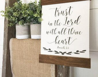 Cotton Canvas Wood Frame Sign | Trust in the Lord Proverbs | Home Decor | Wall Art Farmhouse | Scripture Decor | Christmas Gift