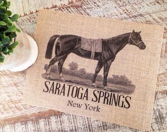 Saratoga Springs NY Vintage Horse Burlap Print | Farmhouse Wall Decor | Rustic Decor | Equine Art | Home Decor | Gift