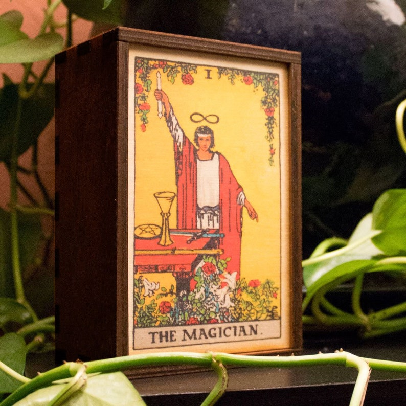Tarot Cards Box Magician Wood Stash Box Magician Tarot Treasure Box Tarot  Magician Mindfulness Gift Magician Spiritual Gift Free Shipping