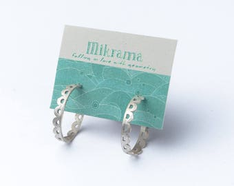 Silver hoop earrings - lace earrings