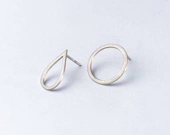 silver geometric earrings - open circle stud earrings - tear drop stud earrings