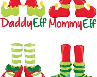 elf family shoes christmas iron on transfer