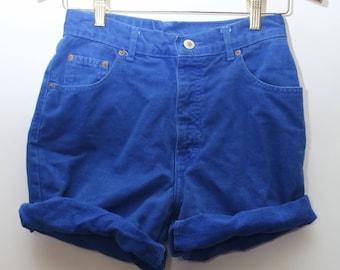 "90's Vintage ""E.N.U.F. INTERNATIONALE"" High Waisted Royal Blue Jean Shorts Sz: 7 (Women's Exclusive)"