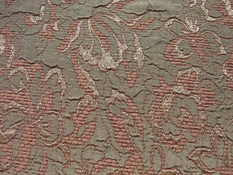 Floral Jacquard Crepe Fabric Earth Tones By The Yard