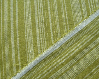 Fresh Olive Green Linen Woven Striped Fabric By The Yard