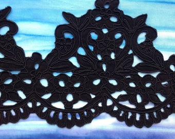 Laser Cut Corded Black Faille Lace Trim By The Yard