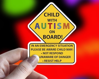 Child With Autism On Board Car Truck Decal Sticker
