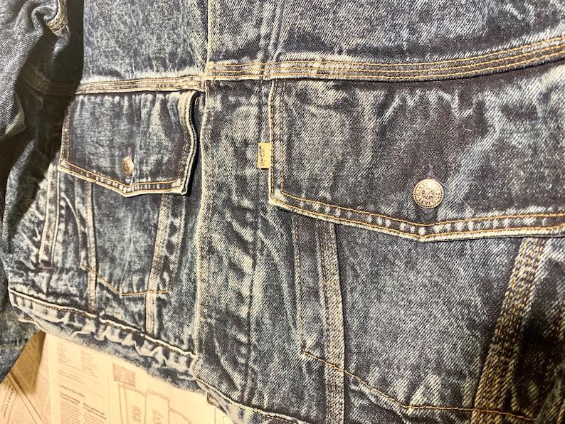 Vintage 80/'s LEVI/'S Dark Blue Acid Stone Wash Denim Jean Jacket