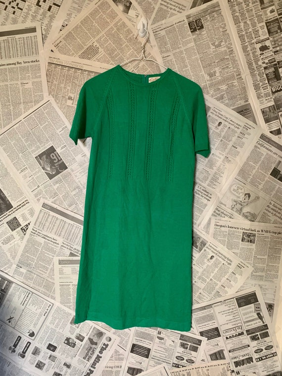 Vintage 60's Green Acrylic Knit Sweater Dress