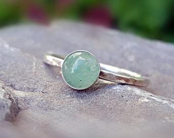Aventurine Ring Green Aventurine Ring Sterling Silver Stacking Ring Green Stone Ring